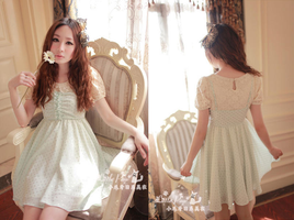Frilled Dotted Sleeveless Dress H23039 (Mint) by littlepawfashion