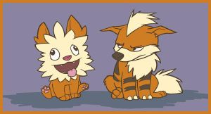 Growlithe and Yooterii by Vamtaro