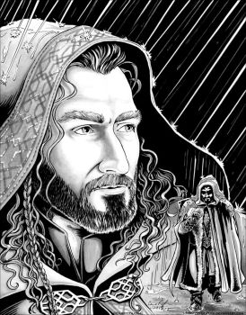 Cloaked Thorin in the Rain by cfgriffith