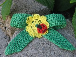 Yellow flower and ladybug crochet hair bow by crazynina