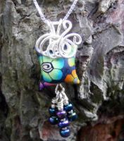 Wire Wrap Polymer Clay Bead by Create-A-Pendant