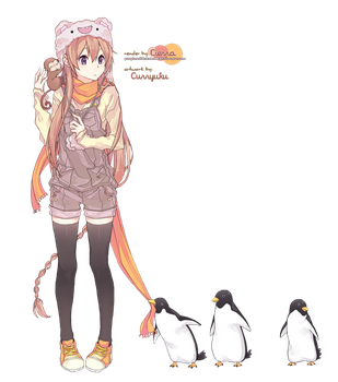 Girl and Penguins render by Erion-xx