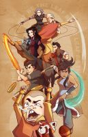 Meelo and the Korra Crew by SoupyTheOctopus