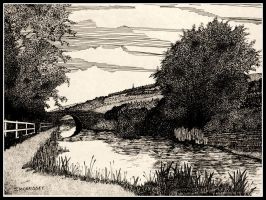 Bridge over a canal by PENANDINKDRAWINGS