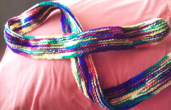Colorful crocheted scarf by Kinkykittyx