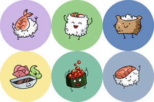 Sushi Buttons by alex-heberling