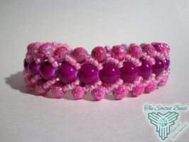 Beaded Flat Spiral Bracelet, Pink by TheSortedBead