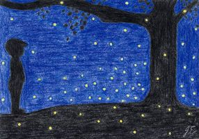 7 Days Drawing Challenge - Day 5: Fireflies by miki-chaan