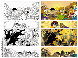 Coloring side-by-side / Scooby-Doo page. by andreranulfo