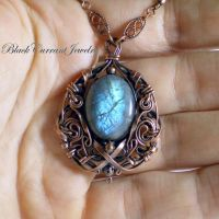 Labradorite and Copper pendant - Blue Shine by blackcurrantjewelry