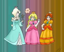 Peach Daisy and Rosalina by princesseclairtippi