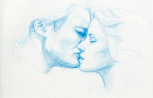 Edward and Bella, The Kiss by artybel