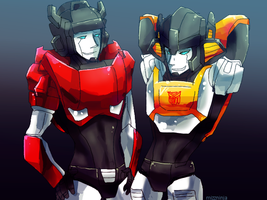 sideswipe sunstreaker by mizz-ninja