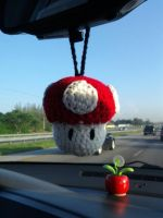Mario Red Shroom Car Dangle by CreationsbyJolie