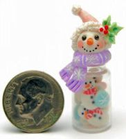 SNOWMAN CHRISTMAS COOKIES BOTTLE by WEE-OOAK-MINIATURES