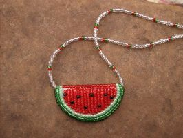 Bead embroidered watermelon necklace by PeachPodHandmade