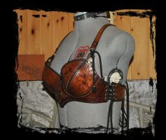floral leather bra side view by Lagueuse
