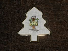 Cross Stitch North Pole Sign by Enithien