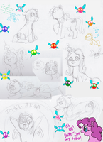 Pile of Pony Sketches by Raphaelsgirl