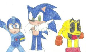 Sonic, Pac-Man and Mega Man by MollyKetty