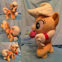 cross-legged Apple Jack plush (sold) by Zombies8MyWaffle