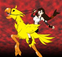 Tifa on a chocobo by kokido