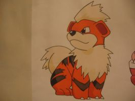 Growlithe drawing - pen by sazmullium