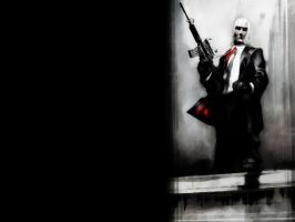 Hitman in Black, White and Red by GuRt1337