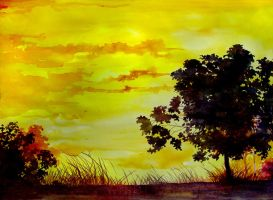 Sunset watercolour by Immortelle