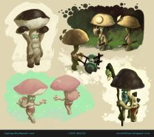 Character designs for the Mushroom Man DS by ligeti-miklos