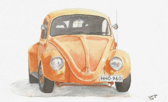 Orange Beetle with watercolours by VWStiti