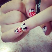 Mushroom Panda nails by alicecorley