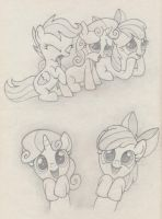 Cutie Mark Crusaders practice sketch by Agamnentzar