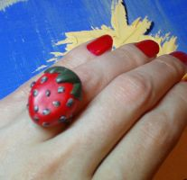 strawberry ring by strictlyhandmade