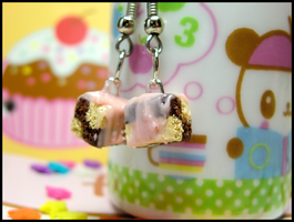 Checkerboard Cake Earrings II by GrandmaThunderpants