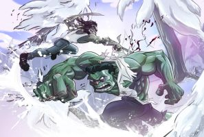 Wolverine vs Hulk coloured by Ignominius