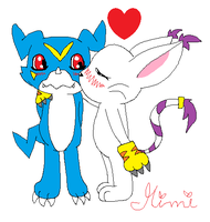 Veemon X Gatomon by MimiTheFox
