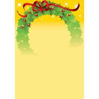 Christmas wreath Illustration on yellow background by cgvector