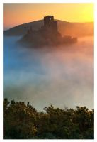 Corfe Castle sunrise by SebastianKraus