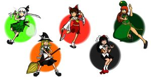 Touhou Gals by TehREALShadowMan