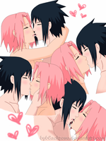 SasuSaku kiss stages by byBlackRose