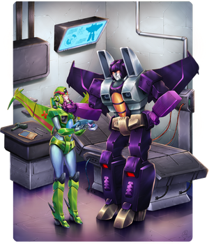 Skywarp and fembot by Kuriko-san