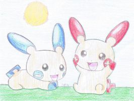 plusle and minun by psychoartist1101