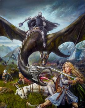 Eowyn and the Nazgul Painting by dashinvaine