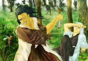 Bleach: The fifth wheel (Zaraki and Ukitake) by iris-M