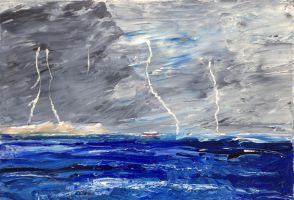 Lightning at Sea by CarolynYM