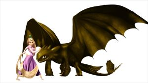 Rapunzel And Her Dragon by stitch5408