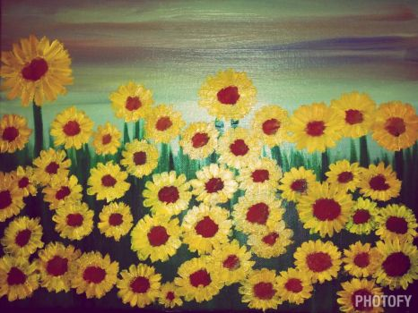 Field of Sunflowers 2 by Caylyngasm