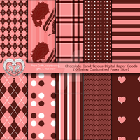 Chocolate Candylicious Digital Paper Goods Pattern by anwaarsaleh