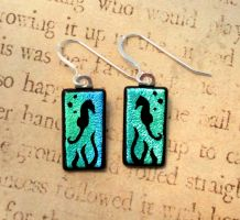 Seahorse Fused Glass Earrings by FusedElegance